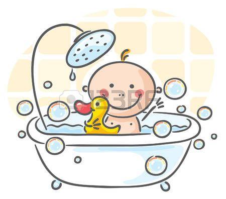 赤ちゃん 浴槽の赤ちゃん イラスト ベクター素材 子供の絵 生まれたての赤ちゃん 子供向けアート