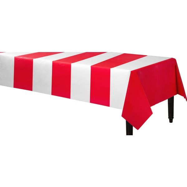 Red and White Stripes Plastic Table Cover