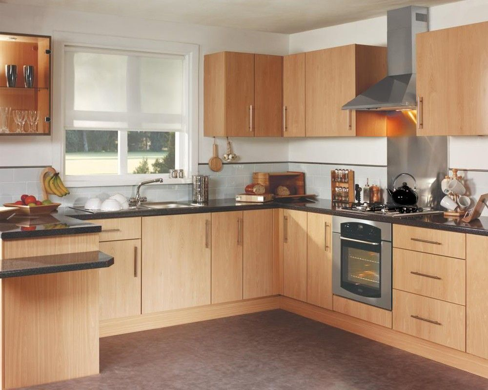 White wall beech units kitchen google search kitchen for Long kitchen wall units