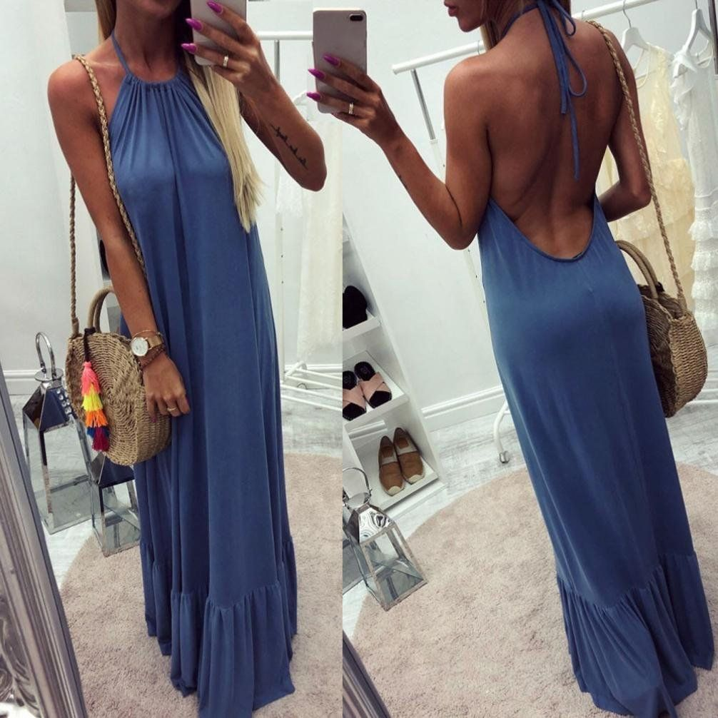 27956ee00b0 Maternity Outfits - skinny maternity maxi dress   Perman Cheap Womens  Dresses Summer Casual Halter Backless Sleeveless Loose Fit Long Maxi Dress      To see ...