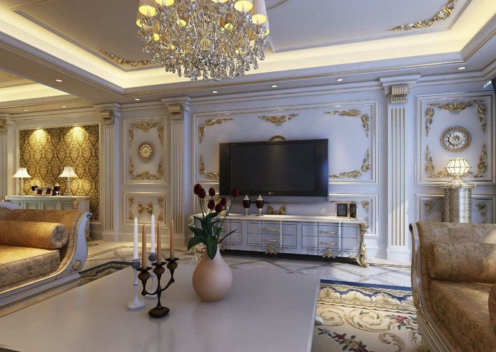 Interior design   European style luxury living room. European style luxury living room interior design with arches