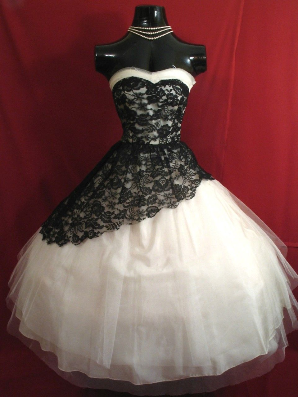 Us strapless white tulle with black lace prom dress vintagegal