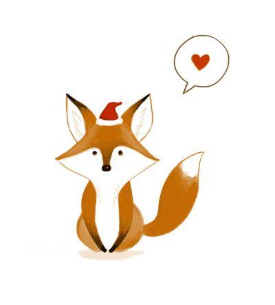 Christmas Fox Art Print | Räv, Bilder, Akvareller