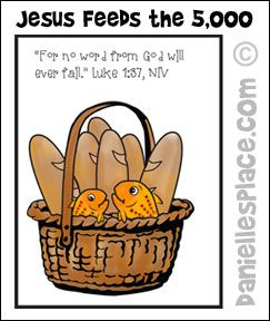 Jesus Feeds The 5000 Coloring Sheet Basket And Loaves From Daniellesplace