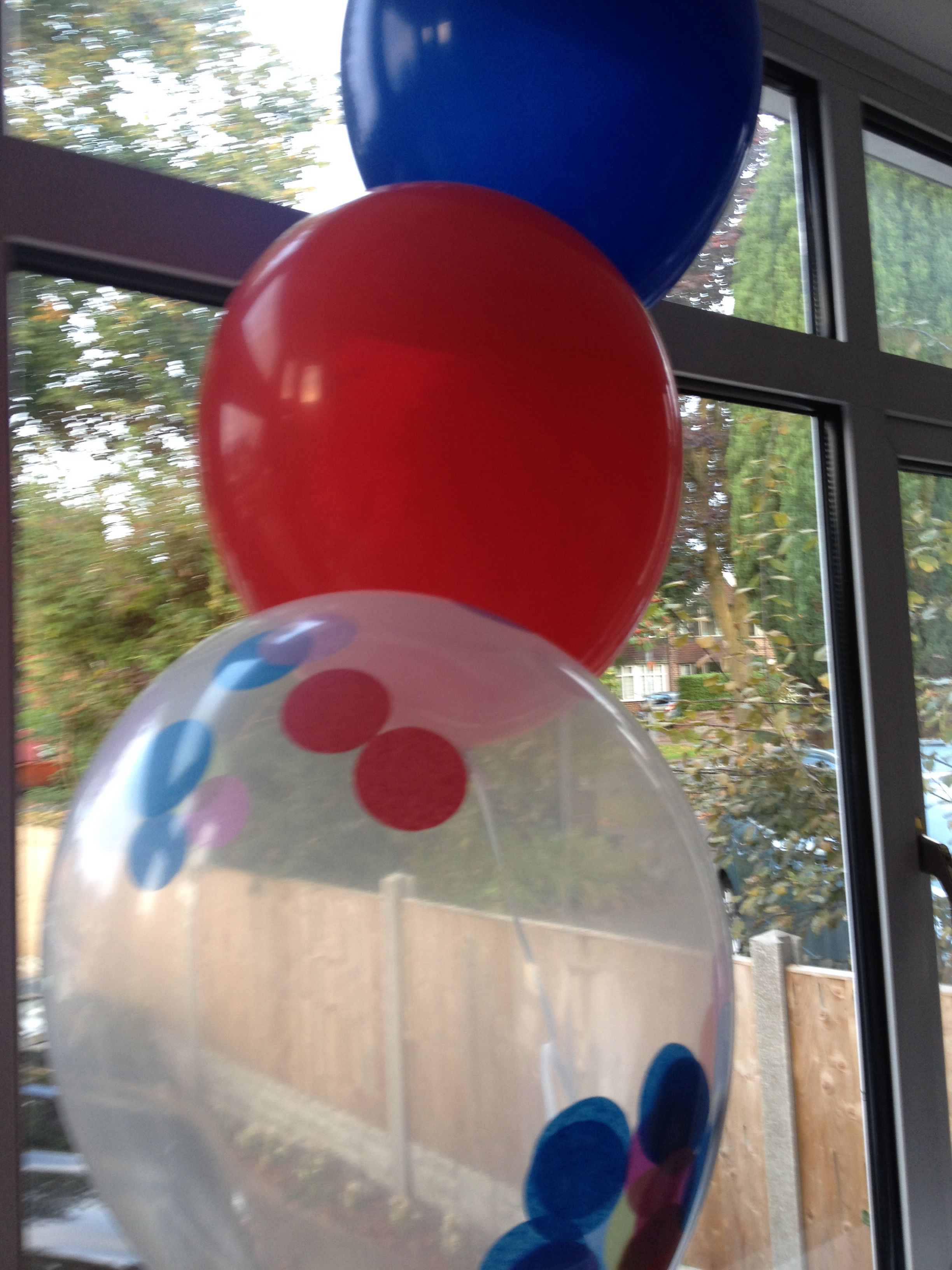 Confetti balloons and primary coloured balloons by bubblegum balloons - used for christening. Great impact