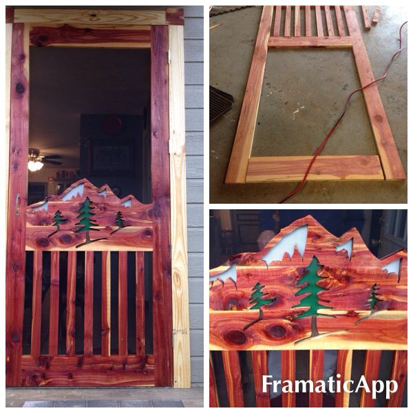 Because my husband Randy is so gifted he made me this beautiful screen door from some scrap cedar wood.  It turned out gorgeous.