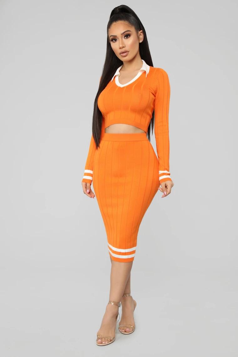 Prep In My Step Sweater Set Orange White Fashion Nova Outfits Fashion Fashion Nova [ 1140 x 760 Pixel ]