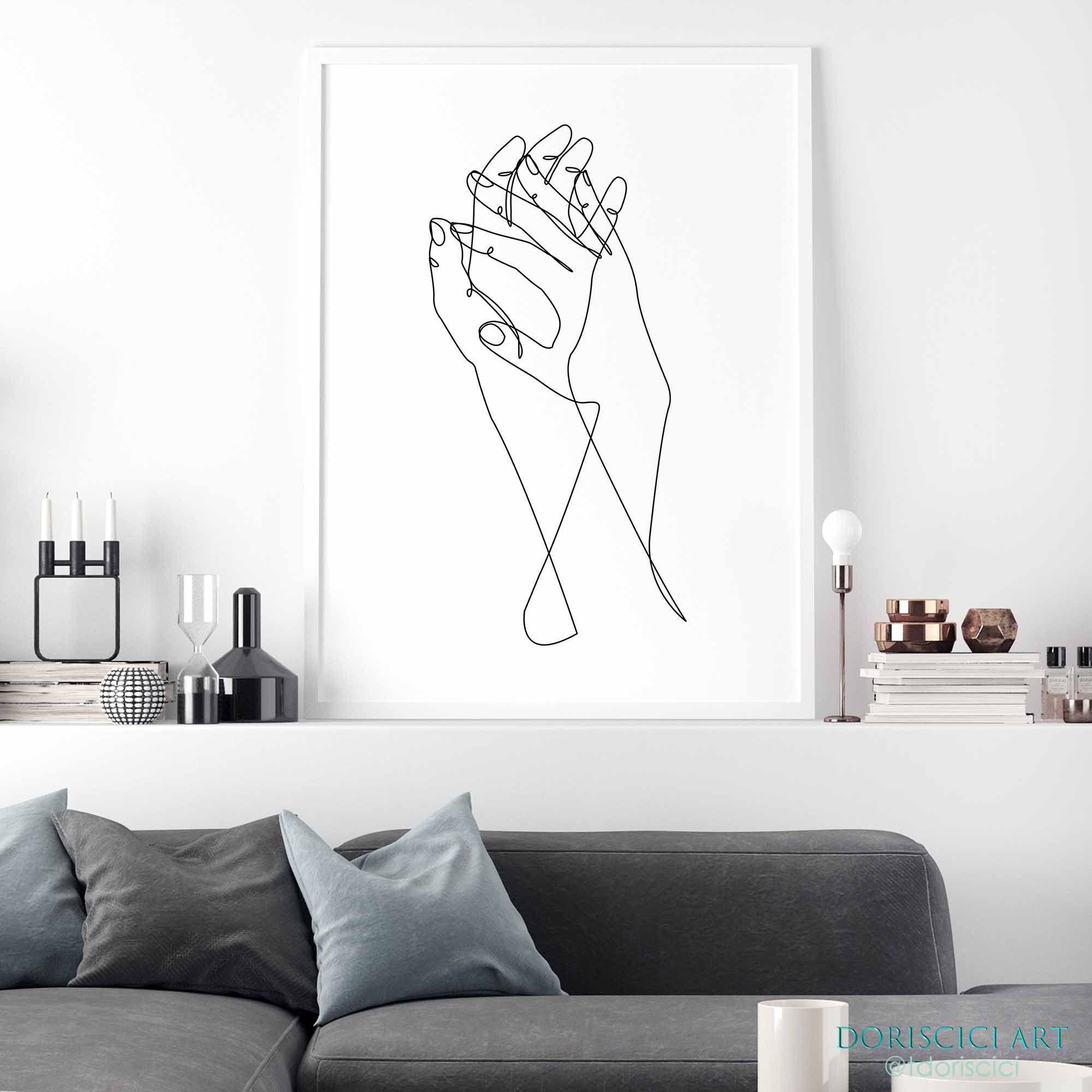 Holding Hands C Beinantang Dorisciciart Printable Hands Line Etsy Line Art Minimal Prints Wall Printables