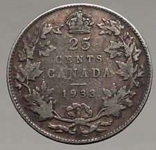 1933 CANADA - UK King George V - Authentic Original SILVER 25 CENTS Coin i56790