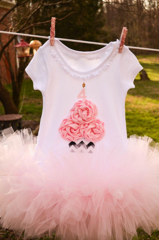 Chevron Print Cupcake Birthday Rose Tutu Dress Infant