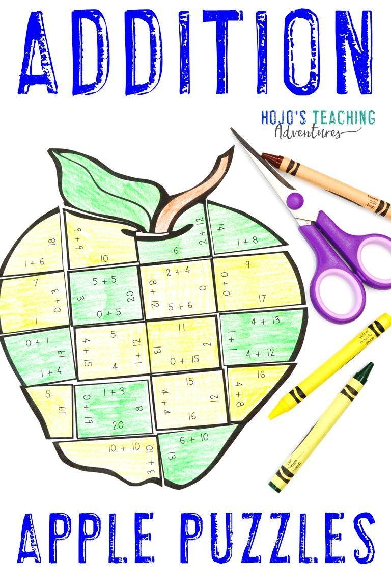 Addition apple math worksheet alternatives fall