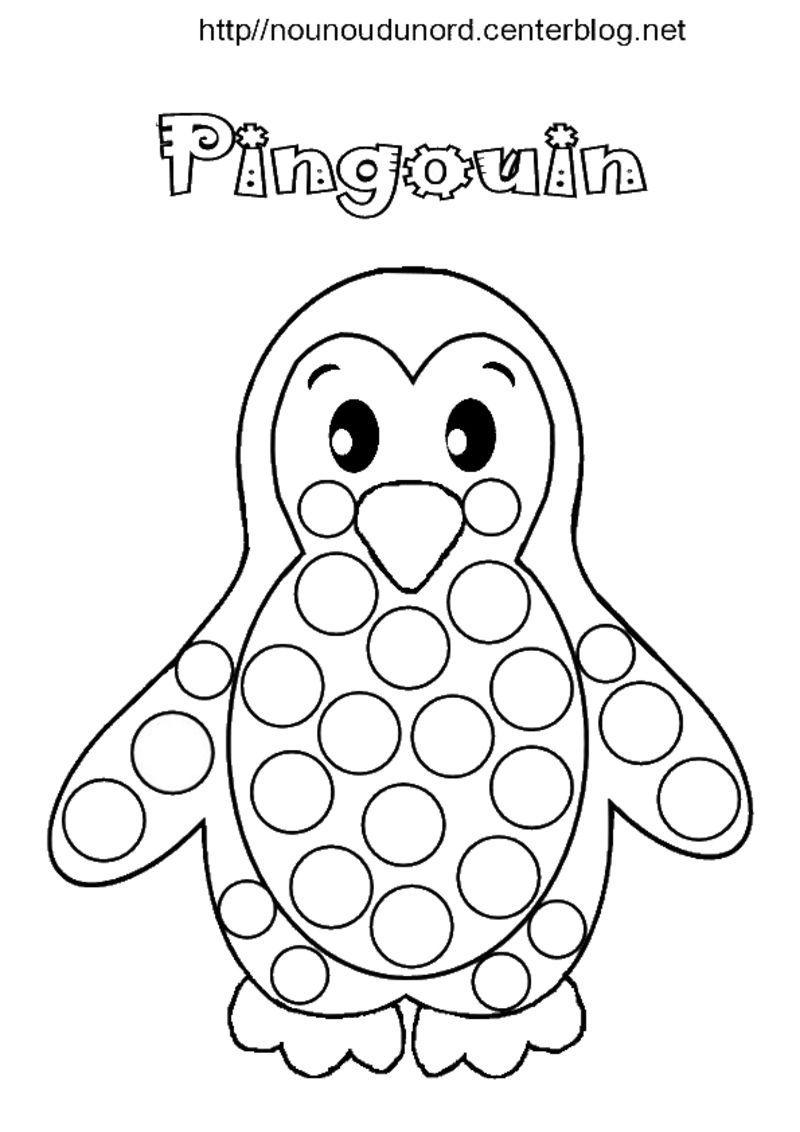 12 Modeste Coloriage Pingouin Images  Gommette, Pingouin