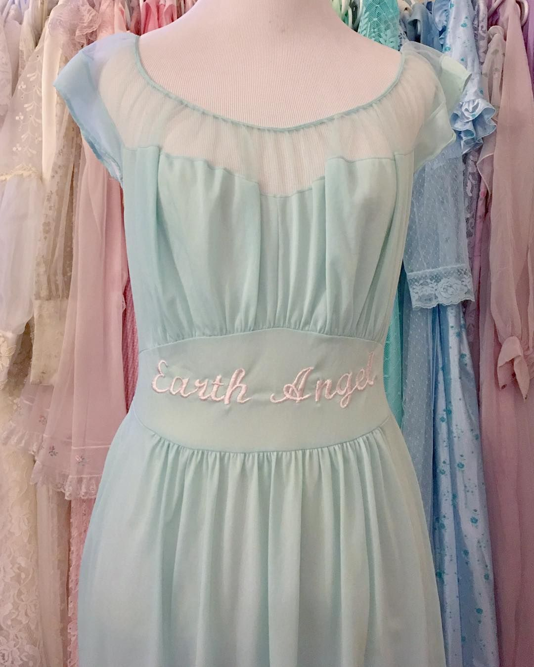 Earth Angel Sheer Pastel Aqua Nightgown - embroidered embroidery ...