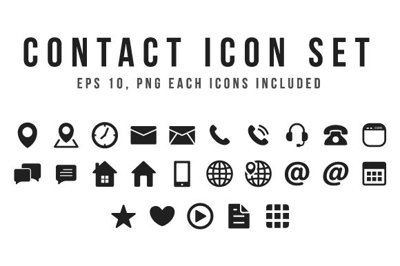 black contact icon set by yellowline on creative market