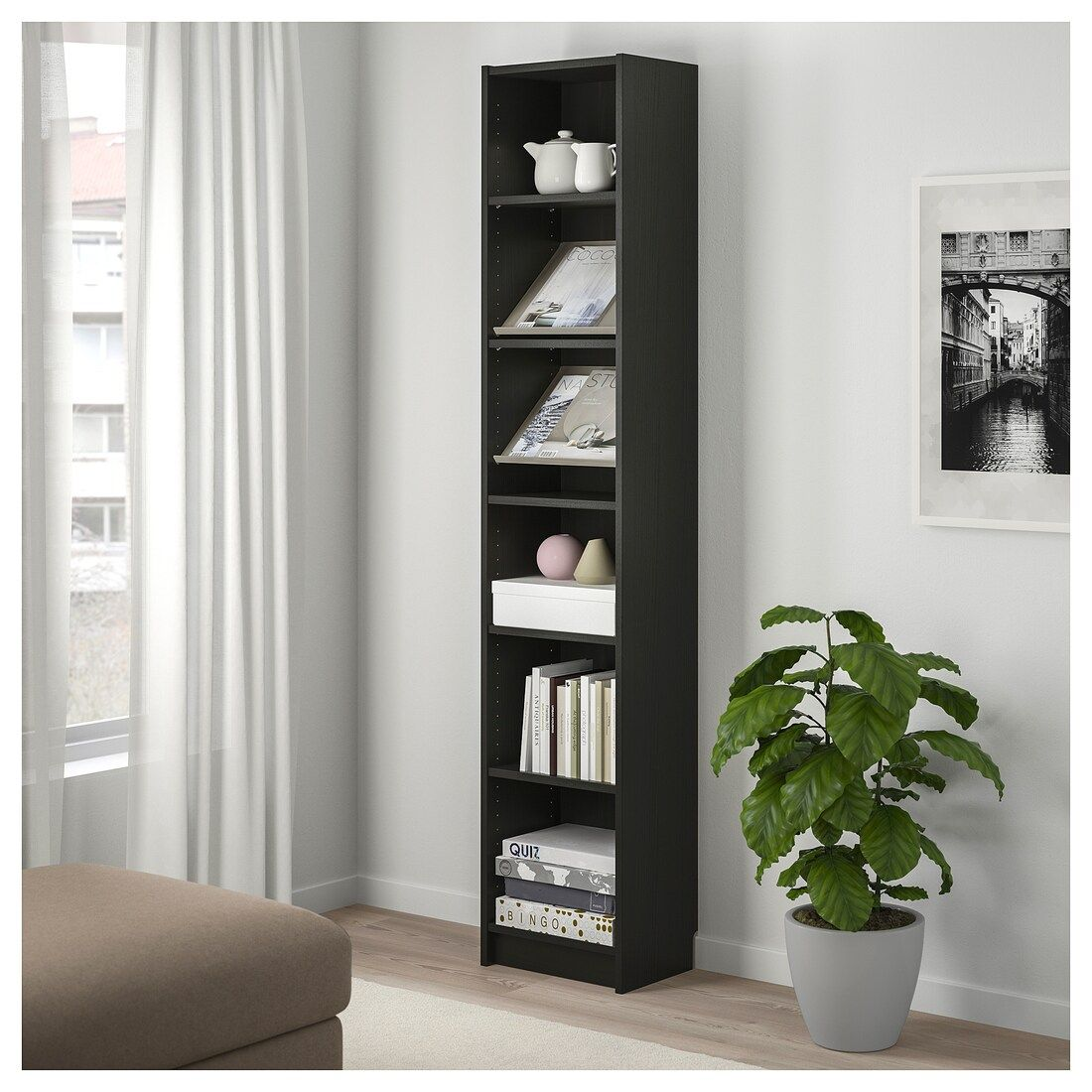 Billy Bottna Bookcase With Display Shelf Black Brown Beige 15 3 4x11x79 1 2 Ikea Display Shelves Display Shelves Ikea Shelves