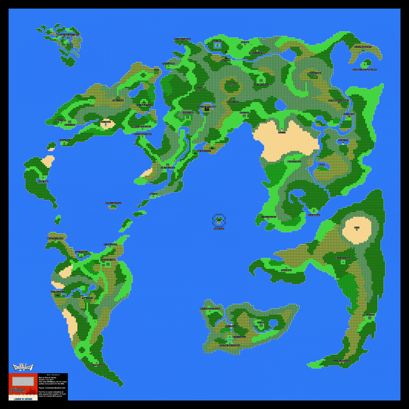 Dragon Warrior Iv 4 Quest Overworld Poster Map 24 X 24 For The
