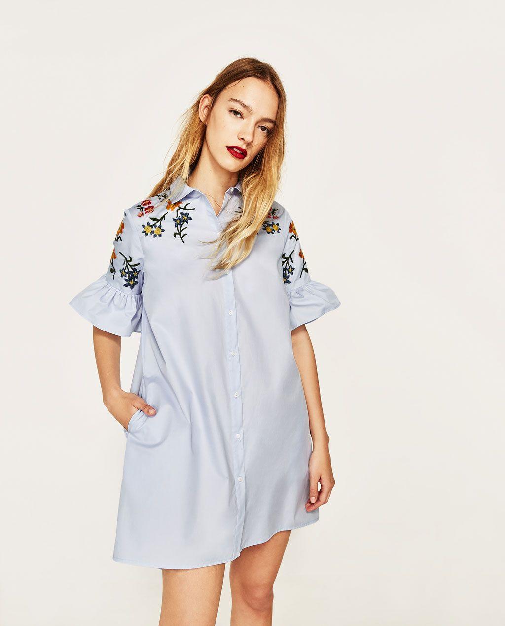 Weißes Kleid Mit Blumenstickerei Zara