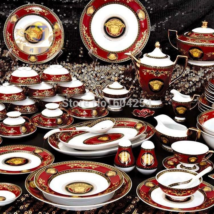 Famous Fine Bone China Luxury Dinnerware Sets With Coffee Set Western Porcelain Tableware Service For 6 Wedding Gift
