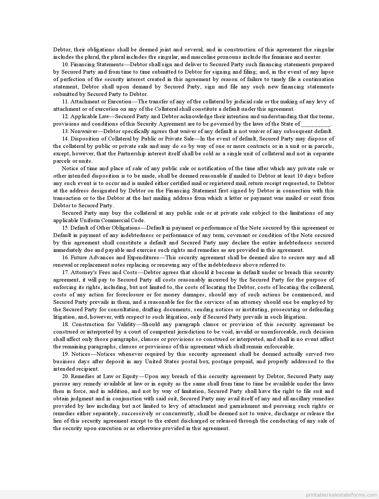 Printable security agreement template 2015 – Sample Security Agreement