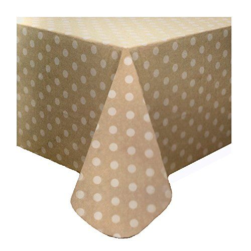 Genial Polka Dot Peva Vinyl Tablecloth Beige White 60 X 84 Oblong / Oval