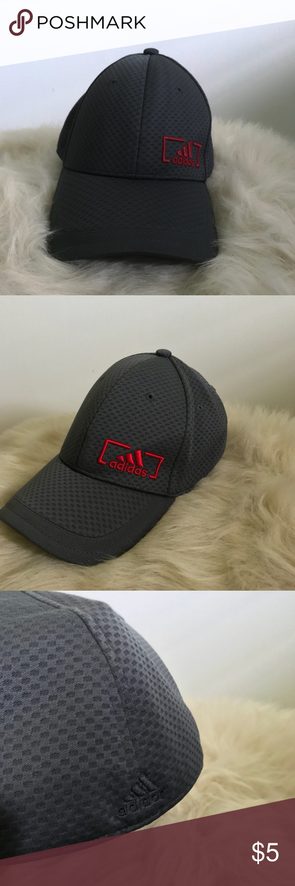 "d9404948d85a5 Adidas ""Dad"" Hat Amplifier Stretch Fit Cap Condition  NWOT Color  Night grey  Scarlet Material  100% Polyester A-Flex Pat    6493880 Is men s size L XL"