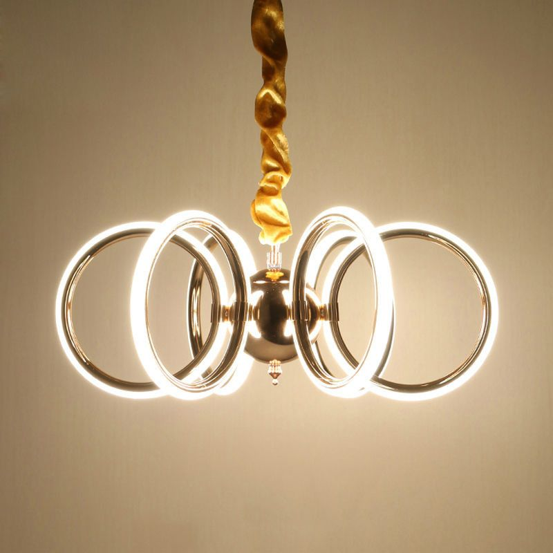 Modern Led Pendant Lights For Bedroom Ring Light Aluminum Pendant Lamp  Suspension Luminaire Light Fixture 130W Led Bulbs