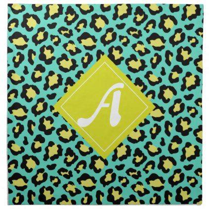 Teal Animal Print Cloth Napkin Created By Bettyandfreddy