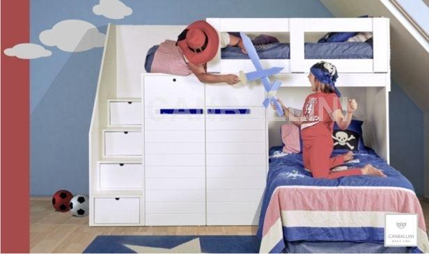 Literas infantiles y juveniles con camas en l muebles de for Muebles infantiles diseno