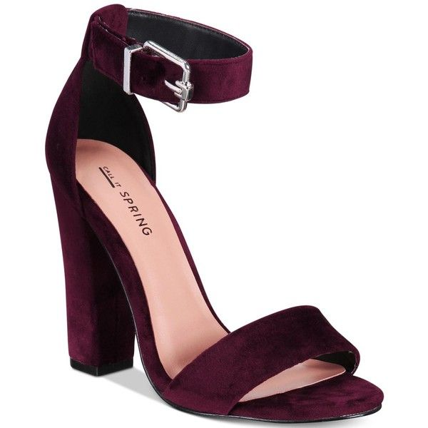 832d1bb4d7 Call It Spring Arther Two-Piece Block-Heel Sandals ($35) ❤ liked on  Polyvore featuring shoes, sandals, wine velvet, colorblock shoes, velvet  shoes, ...