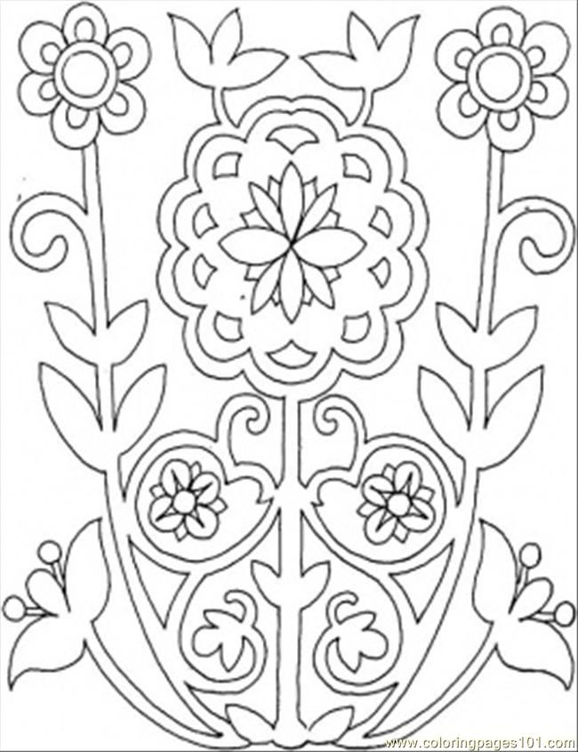 Printable Coloring Page Flowers From The Field Other Pattern