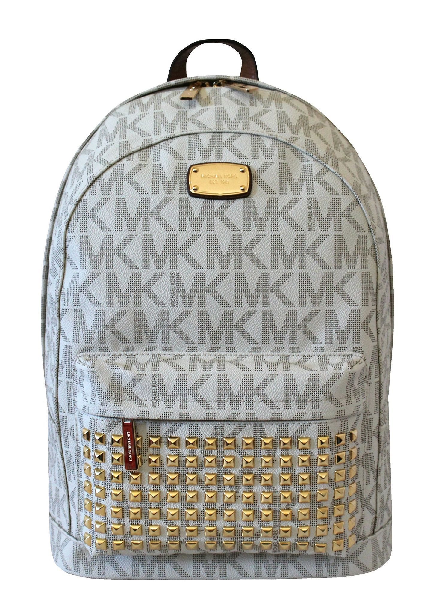 d6b769d6f78d MICHAEL Michael Kors Large PRINTED MK STUDDED Jet Set Item Backpack VANILLA