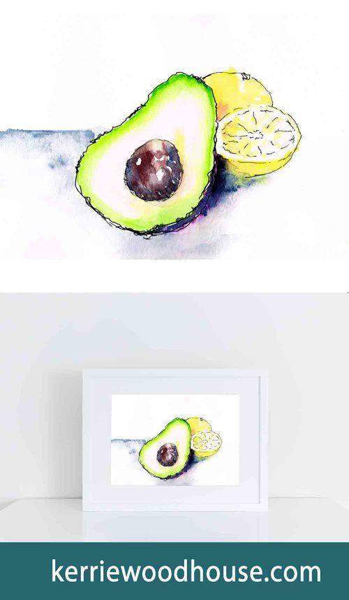 whimsical print | kitchen art | fruit print | watercolour | avocado | lemon | green print | wall art