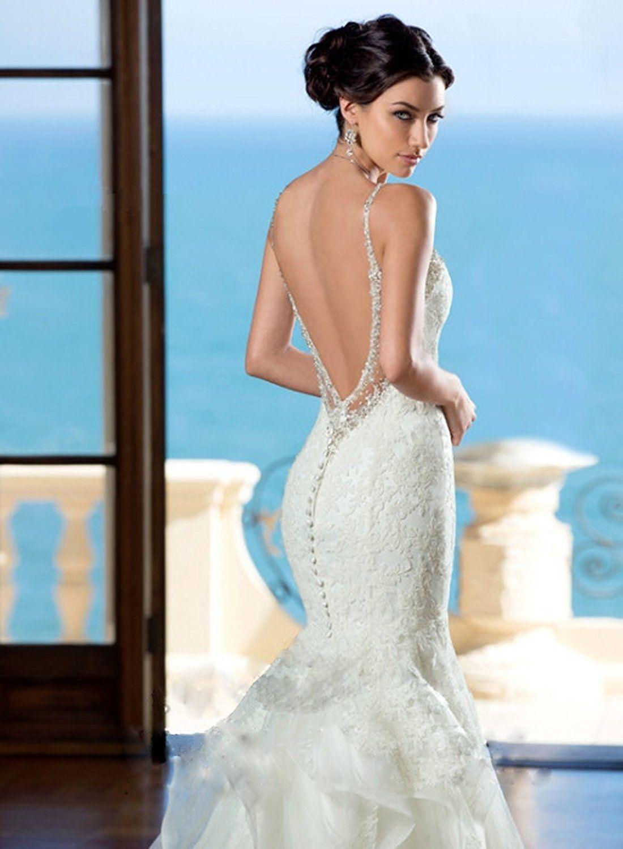 Lace Wedding Dress 2018 - Angel Formal Dresses Women\'s V Back Straps ...