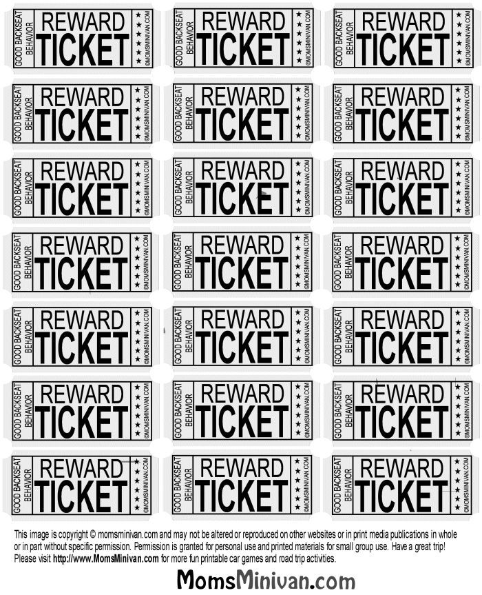 Travel Tickets for kids Printable page backseat behavior – Tickets Printable