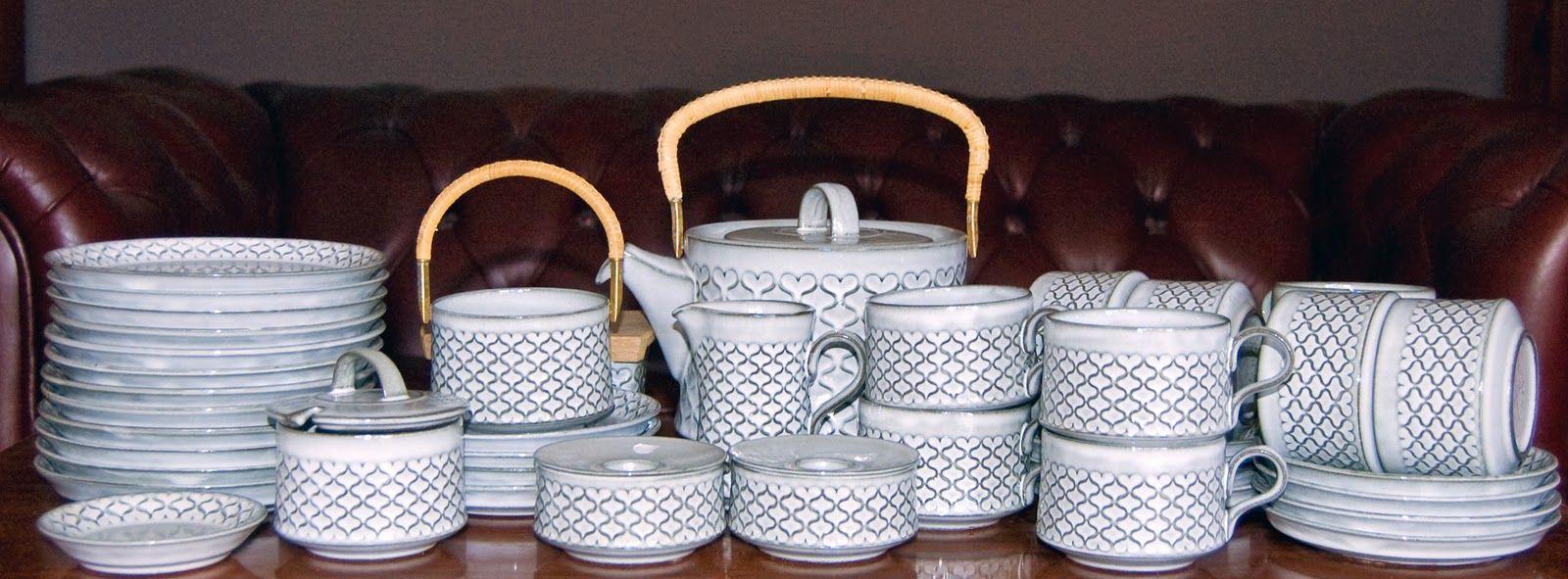 10 Person Stoneware Tea Set By Nissen Of Denmark This Pattern Is Called Cordelia Or Cordial In English Vintage Ceramic Ceramics Tea Set