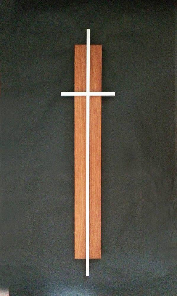 Mid Century Modern TEAK ALUMINUM CROSS Mid Mod Wood Metal ...