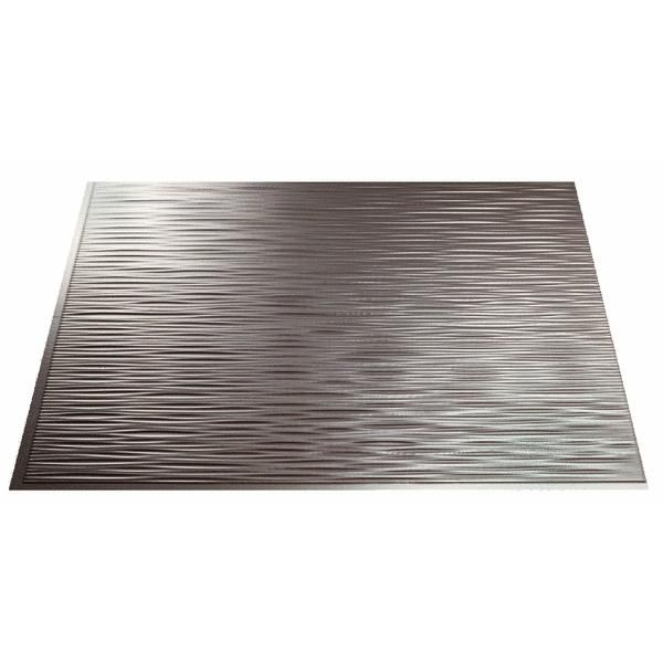 "ACP Model: D72-29 SKU: 260298 Brushed Nickel Ripple Panel    Thermoplastic Decorative Backsplash Panel.  Perfect for remodeling or new construction. Panels are resistant to water, impact, and stains. Simple-to-clean using warm water and soap with a soft cloth. Installs with 2-sided tape or polyurethane construction adhesive. Panels can be cut with a snip, scissors, or utility knife for quick and easy installation. Each panel is 18"" x 24"". 5 panels per package."