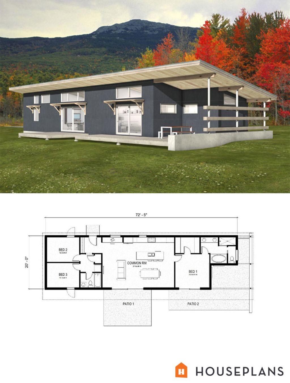 Modern Style House Plan 3 Beds 2 Baths 1356 Sq Ft Plan 497 57 Modern Style House Plans Modern House Plans House Plans