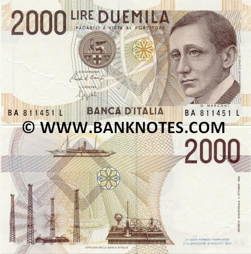 Italy Currency 2000 Lire 1990 Italian Bank Notes Paper Money World