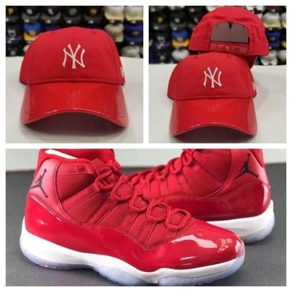 28195476287d4 Matching New Era 9Twenty New York Yankee Red Curve Dad Hat For Jordan 11  GYM RED