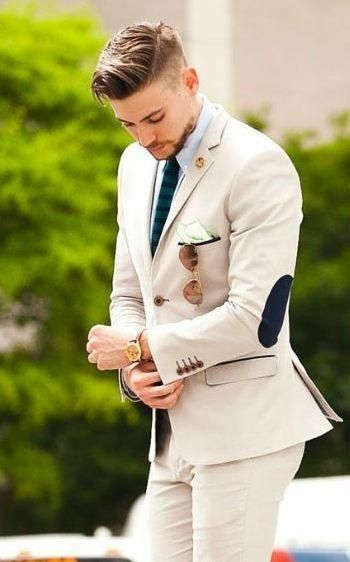 Latest Coat Pant Designs Beige Groom Tuxedos elbow patches 2 Pieces Wedding Prom Dinner Suits For Men Italian Man Suit Blazer