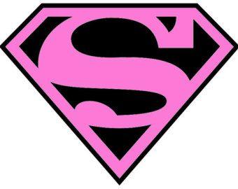 Pink and black superman logo iron on fabric transfers - Symbole de superman ...