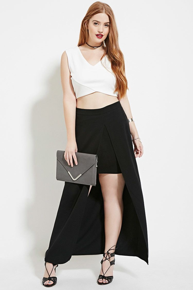 a07c4bad5 Forever 21+ - A woven maxi skirt with a high front slit, a concealed back  zipper, and a stretch knit mini skirt underlayer.