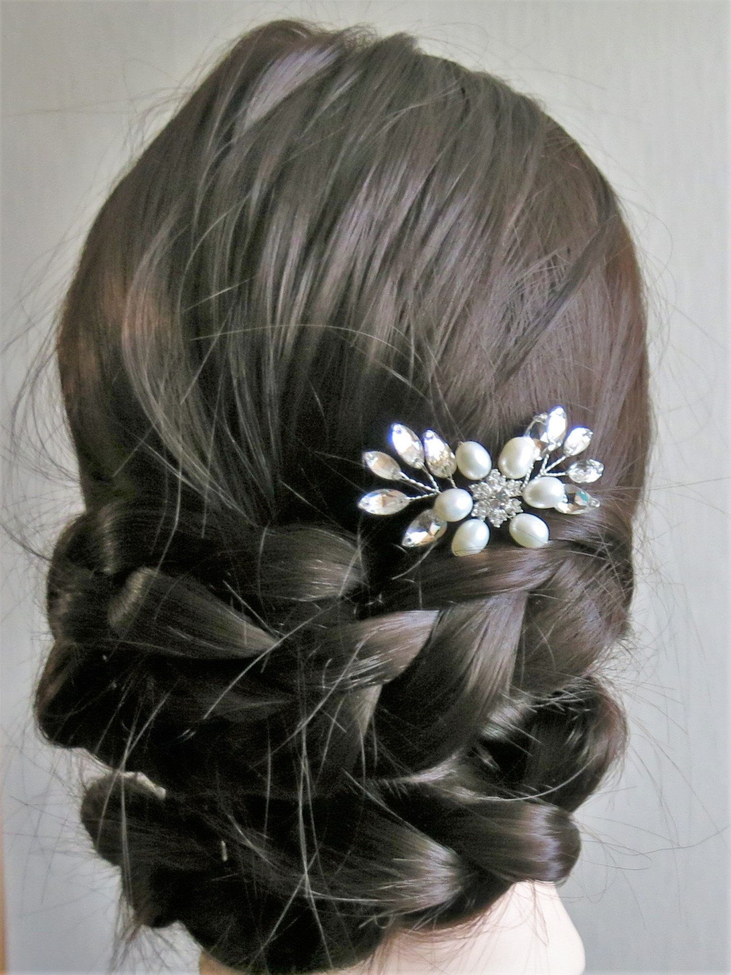 Bridal Hair Pin Bride Hair Piece Prom Headpiece Floral With White Pearls Flower And Crystal Snowfl Bridal Hair Pins Wedding Hair Accessories Bride Hair Piece
