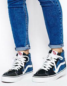 blue vans sk8 hi outfit