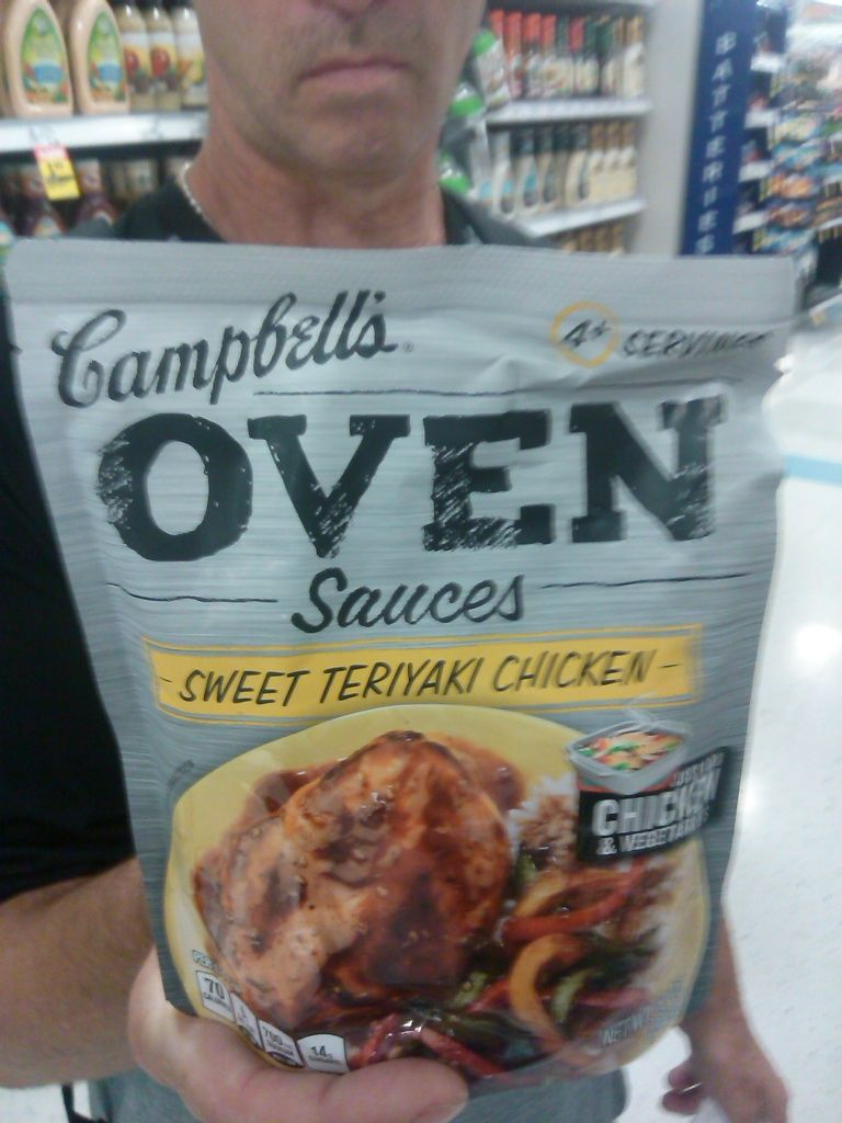 Campbells Terriyaki sauce, mix chicken and sauce and its yummy