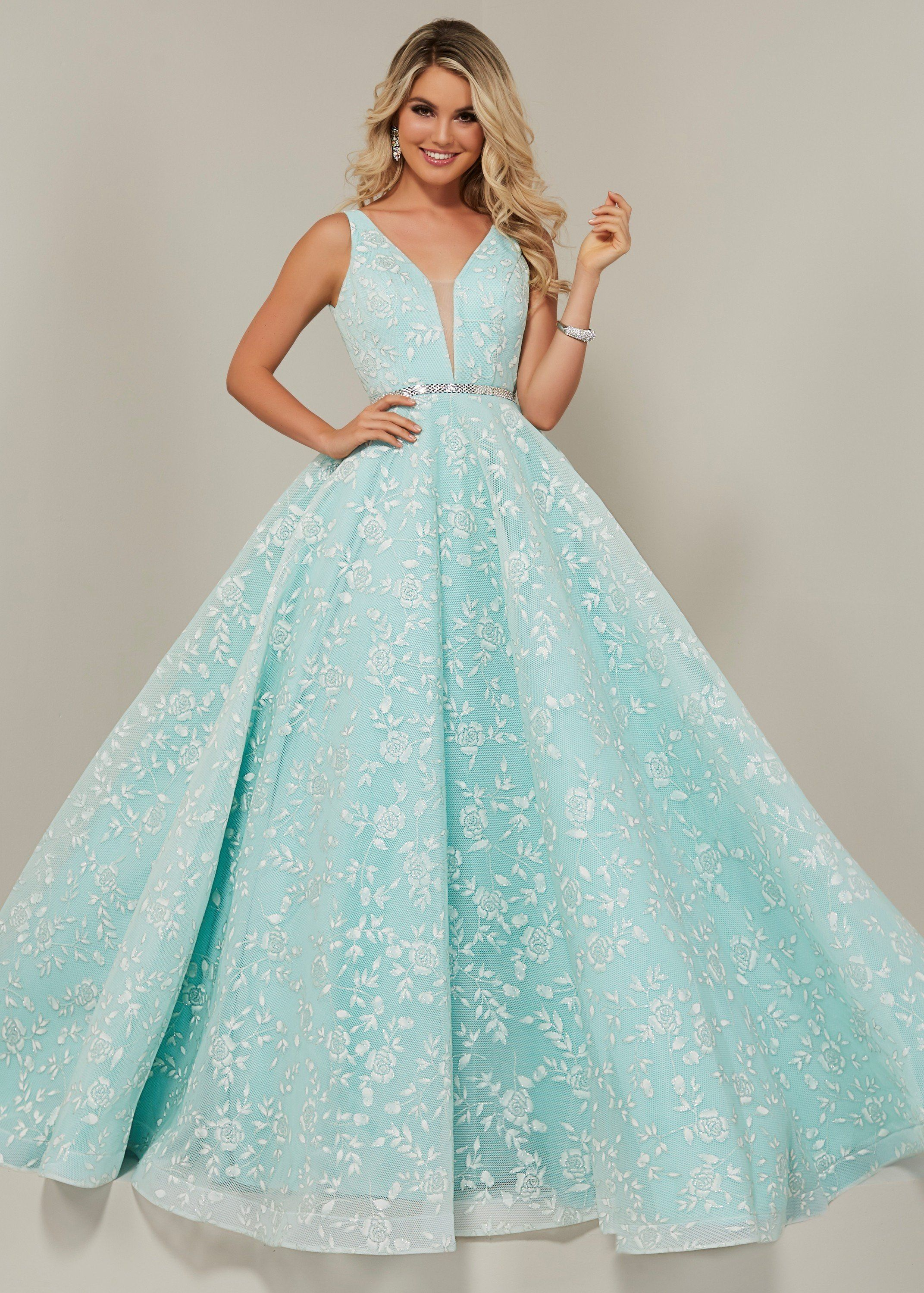 c3c1baf2680 Tiffany Designs 16325 Plunge Neck Floral Ball Gown in 2019