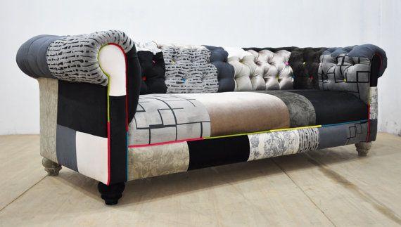 Black White Chesterfield Patchwork Sofa Canape Patchwork Canape Rouge Mobilier De Salon