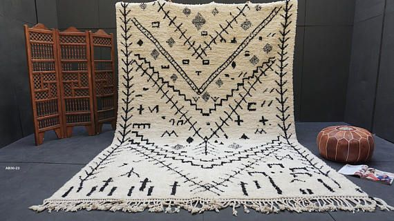 Black And White Moroccan Rug 8x11 Beni Ourain Luxurious Rug