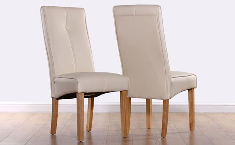 The Logan Ivory Leather Chairs With Oak Stained Hardwood Legs
